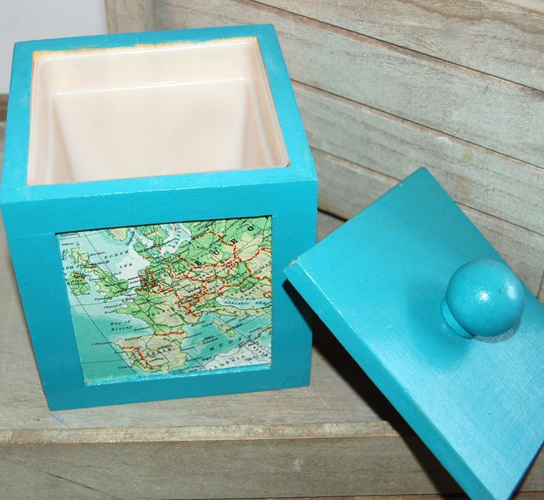 Upcycled Map Box Turquoise Storage Shabby Chic Europe