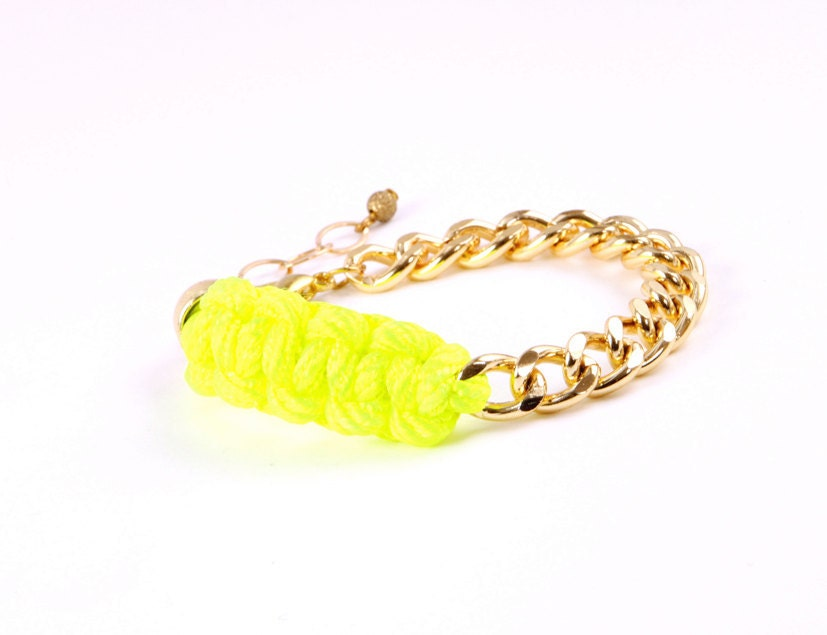 Neon Green  Nylon and Gold Chain Bracelet