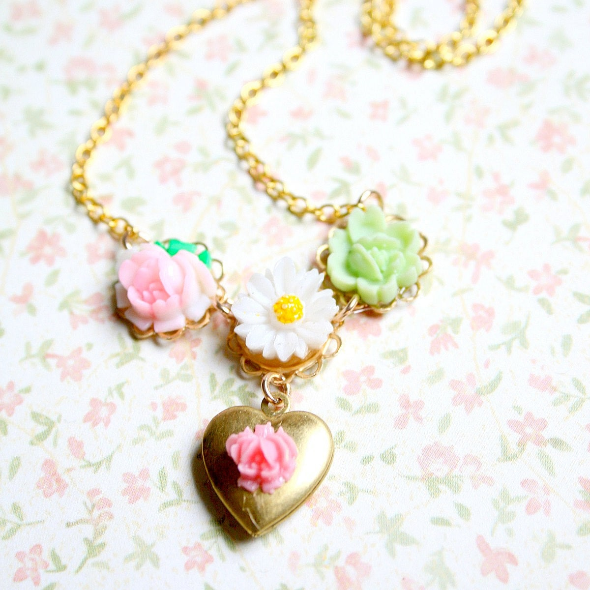 Pink Rose Heart Locket Necklace