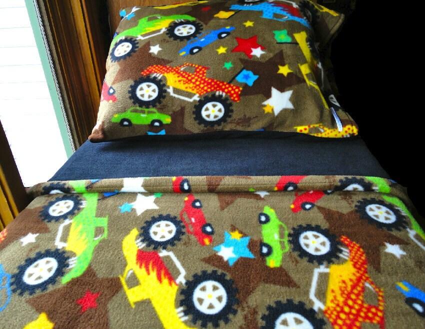 Childrens Bedding Set  'Monster Trucks with Black' Handmade Fleece Bed Set Fits Crib and Toddler Beds