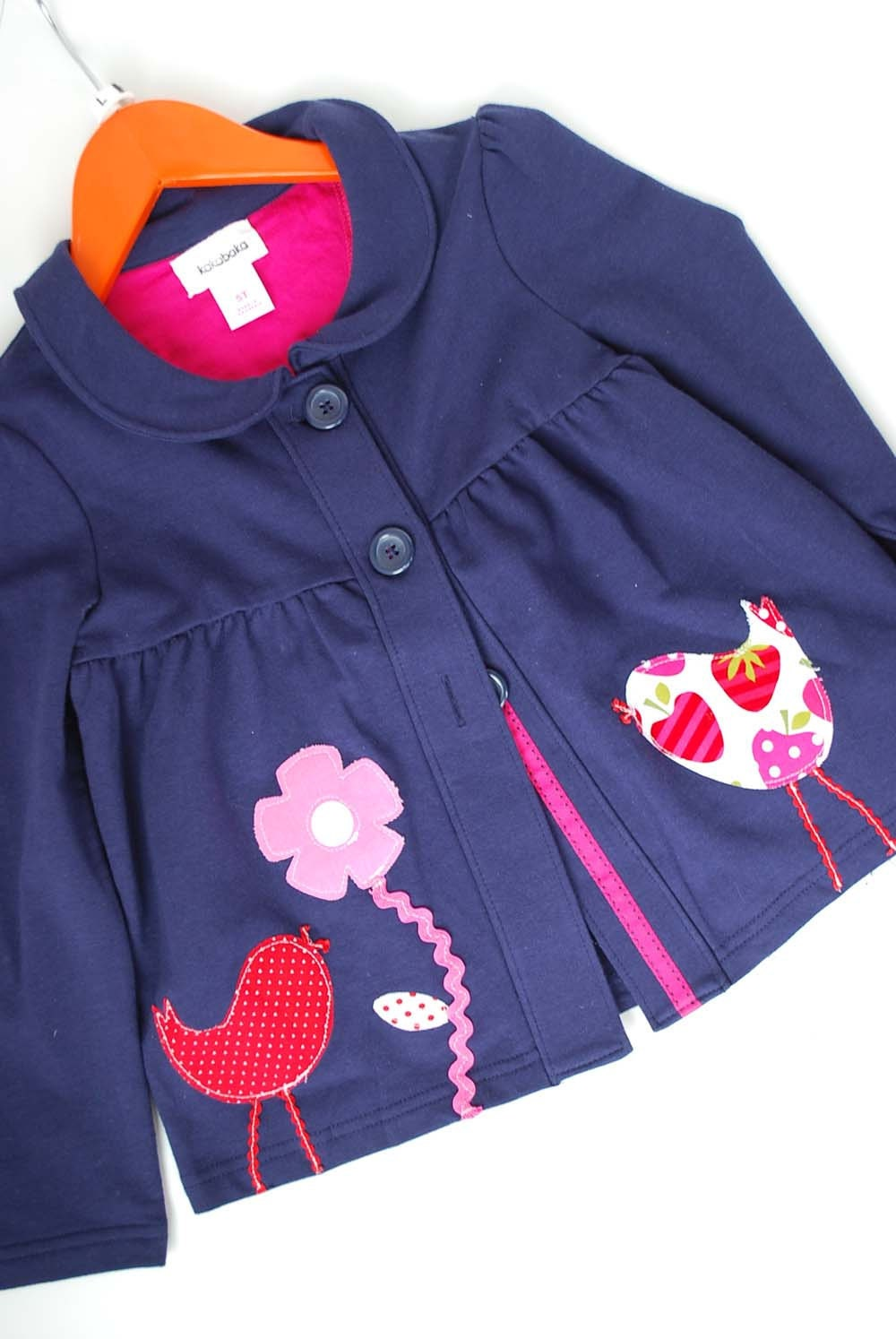 Spring Navy Blue Jacket 5T with Bird and Flower Applique