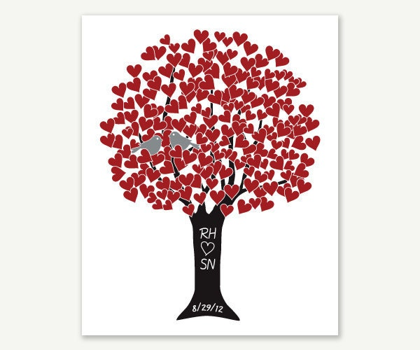 Valentine Heart Tree with Love Birds in Red Silver & Black - Wedding Gift - 8x10 Print Monogram Name Date - Engagement Shower Anniversary - ColorbeeLove