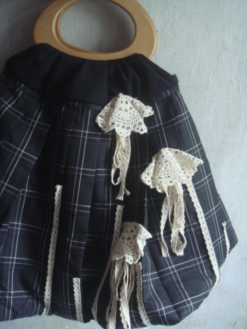Upcycled handbag made of check plaid new skirt - MagnifiqueBangkok