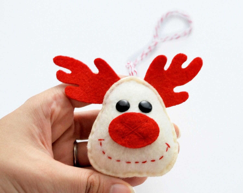 Felt Reindeer Christmas Ornament, Rudolph felt reindeer ornament