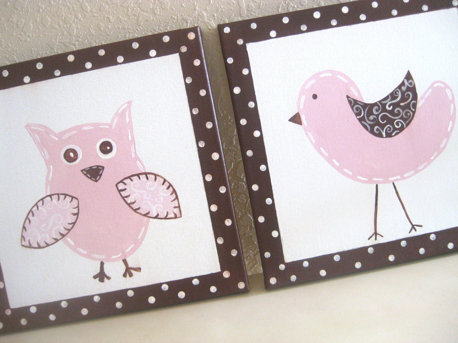 Owl and Birdie, 12x12, set of 2, READY TO SHIP