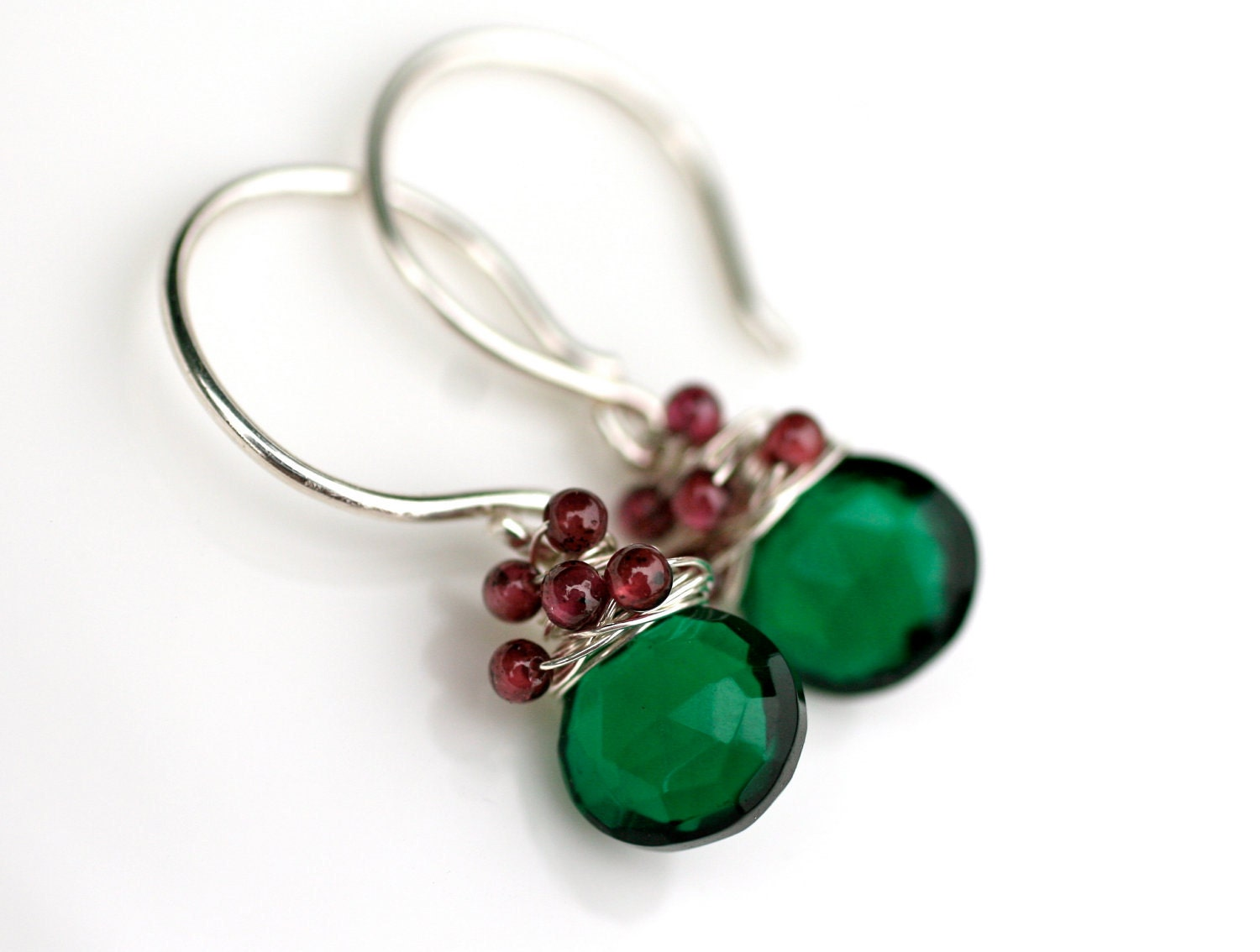 Christmas Tree Earrings Dark Green Quartz and Red Garnet Silver Filled Wire