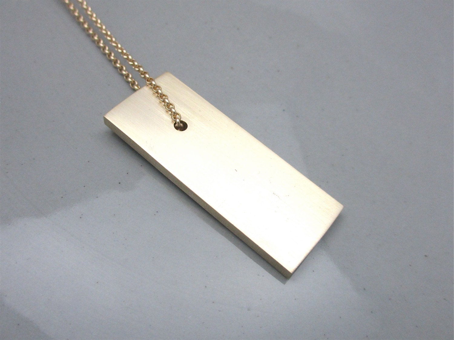 Minimalist Necklace Industrial Necklace Brass Pendant Necklace