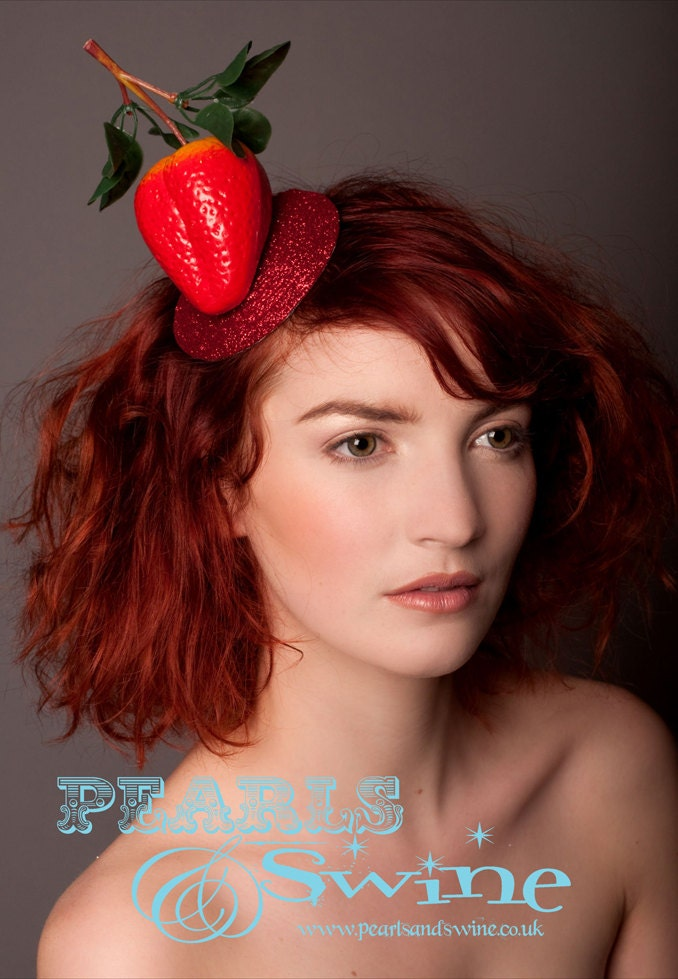 Strawberry Giant Fascinator Rockabilly Burlesque Headwear Hat Fruit Kawaii Kitsch Quirky Unique Fun