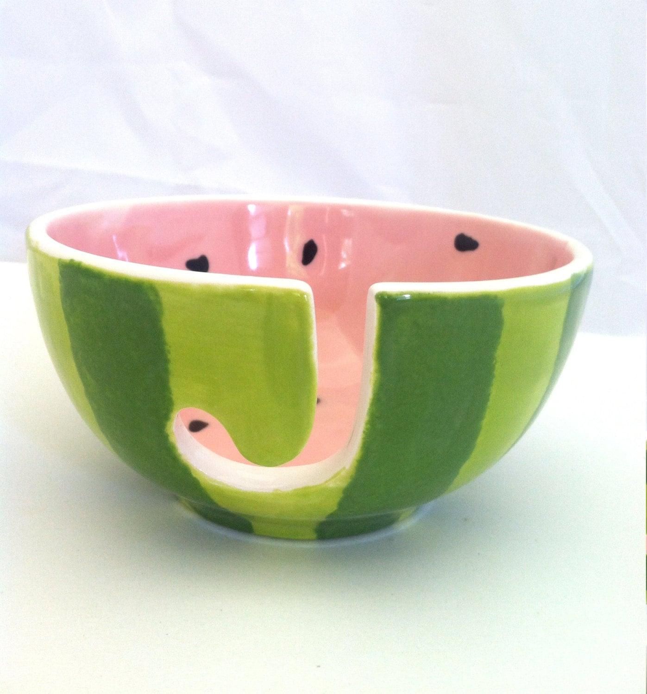 Watermelon Yarn Bowl - Ceramic - Hand Painted Yarn Pottery Bowl - ShadyLaneCeramics