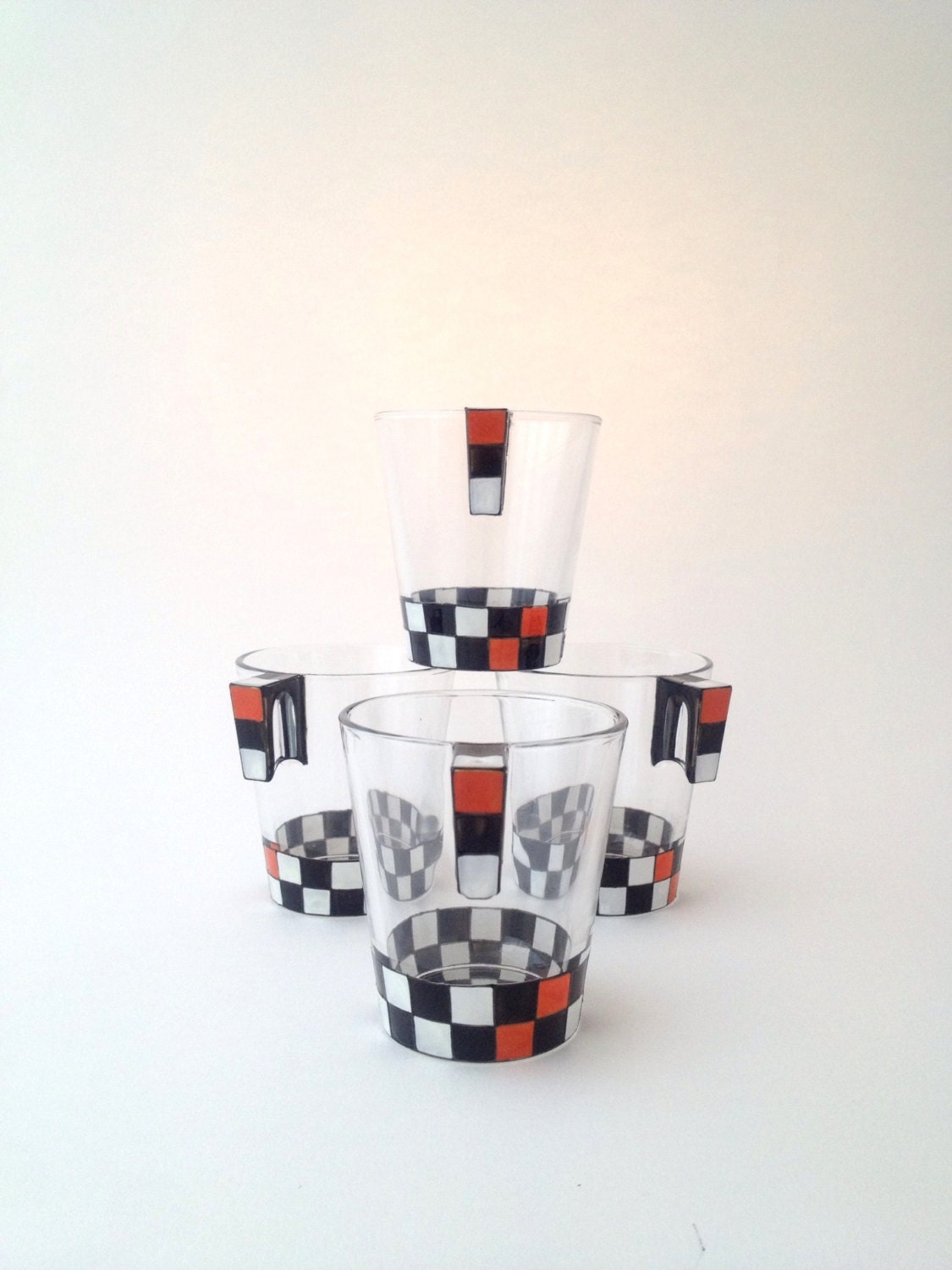 Father's Day Set of 4 Black, White and Orange Chequered Coffee Cups
