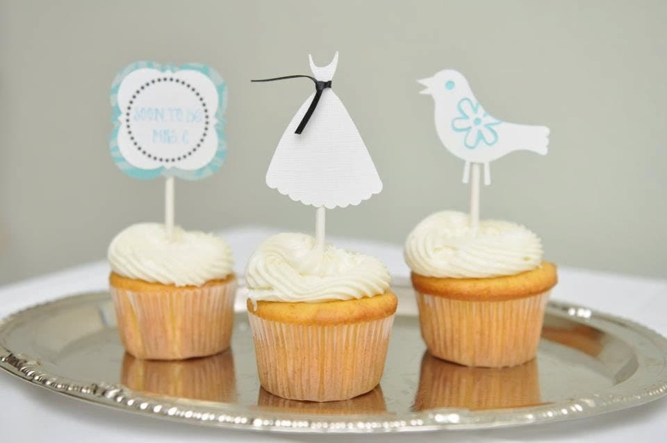 Bridal shower cupcake toppers, Bridal shower party, Wedding shower, wedding dress, cupcake toppers, 12 pieces