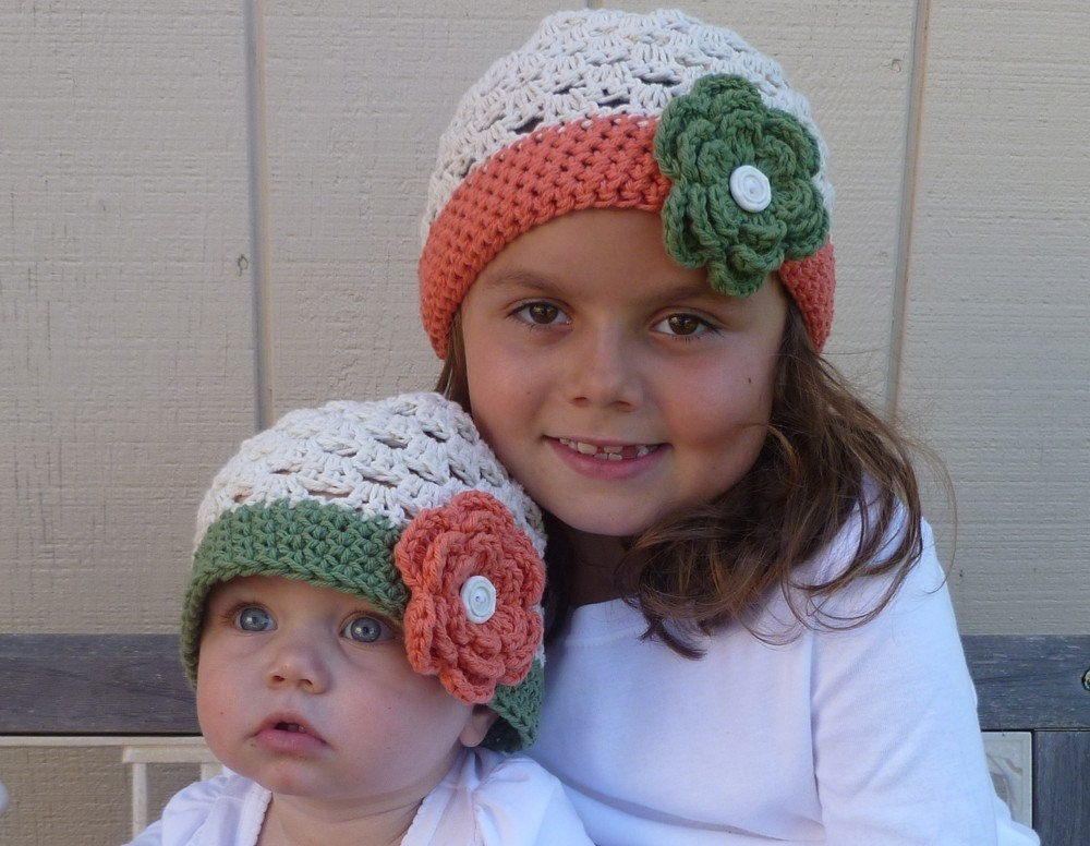 Pair of 2 beautiful green and orange hats Beanies - great for sisters, cousins, mommy and me -  infant thru adult sizes