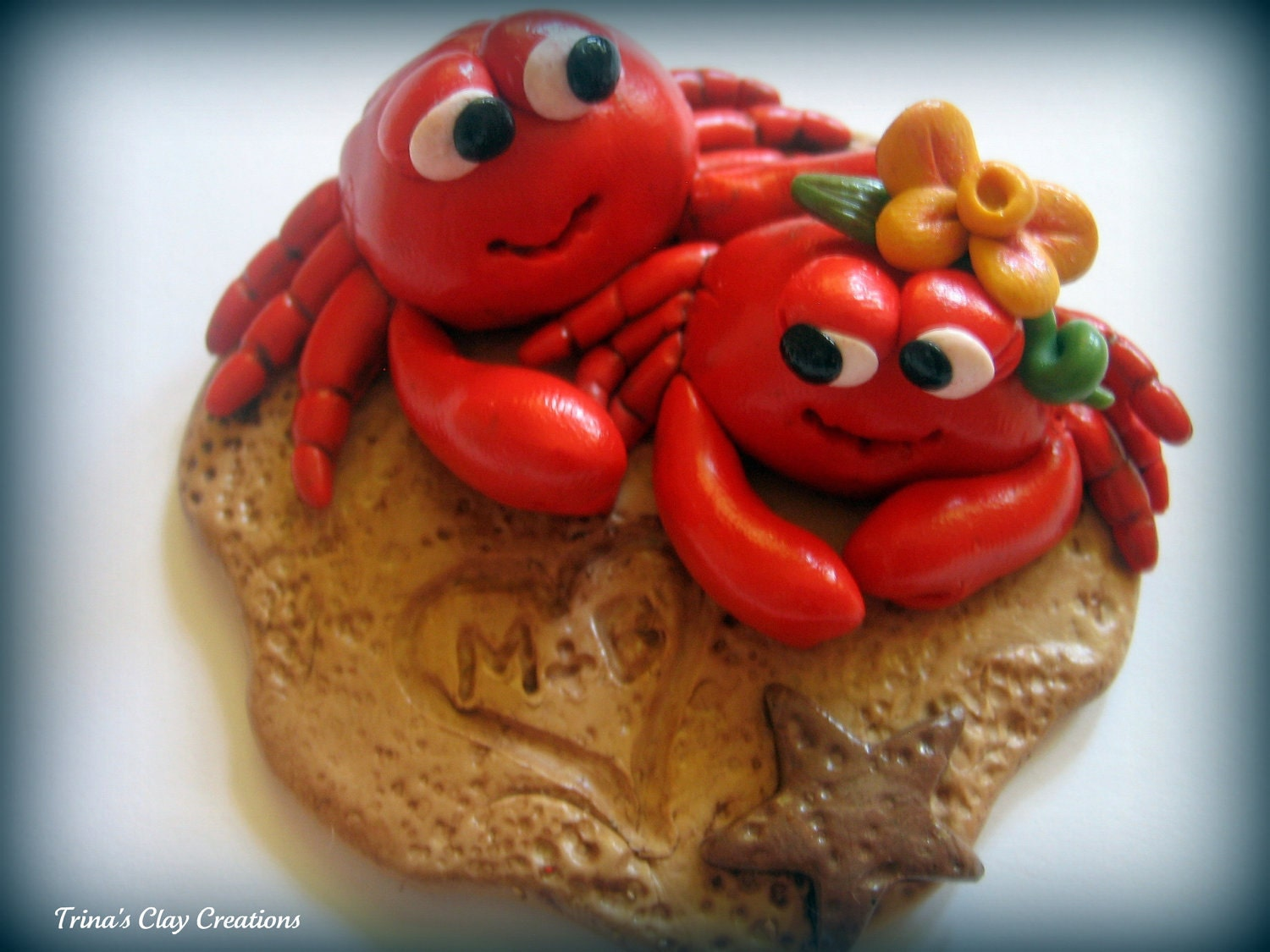 Wedding Cake Topper, Custom Polymer Clay Red Crabs in the Sand Wedding/Anniversary Keepsake - trinasclaycreations