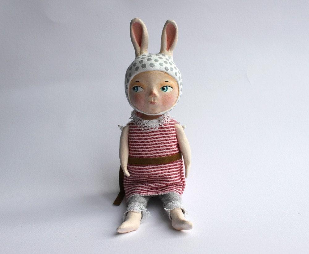 Curious bunny - ooak art doll