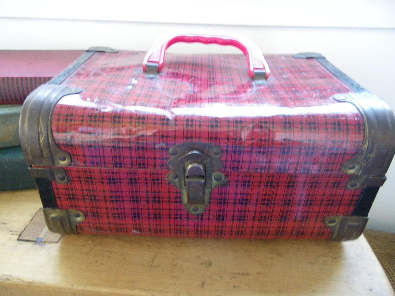 Vintage Plaid Tin Train Case or Doll Case