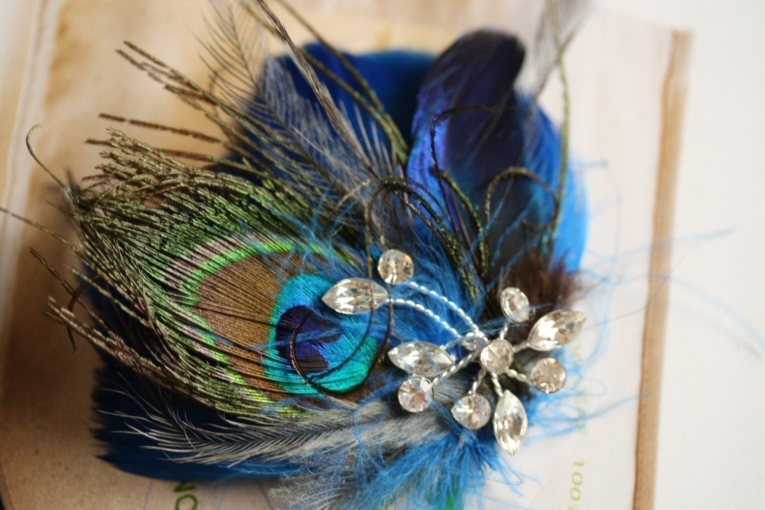 GIA Whimsical Peacock Blue handmade feather hair accessories Unique