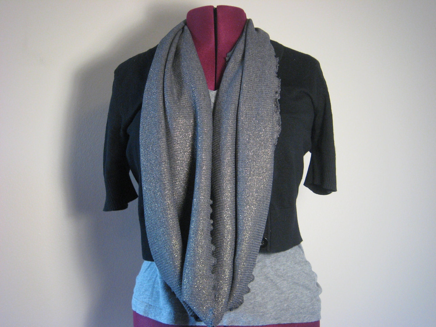 Infinity scarf in charcoal sparkle fashion