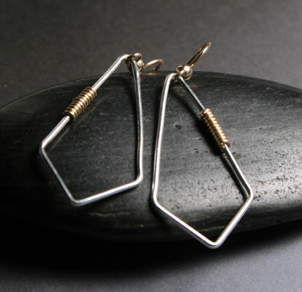 Kite Earrings - Mixed Metal Wire Wrap - Dangle / Chandelier Earrings
