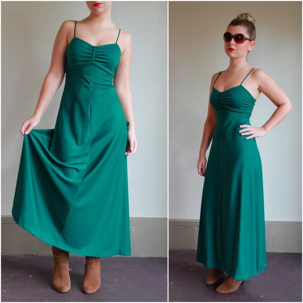 Emerald Green Long Gown from Baby Bird Vintage on Etsy