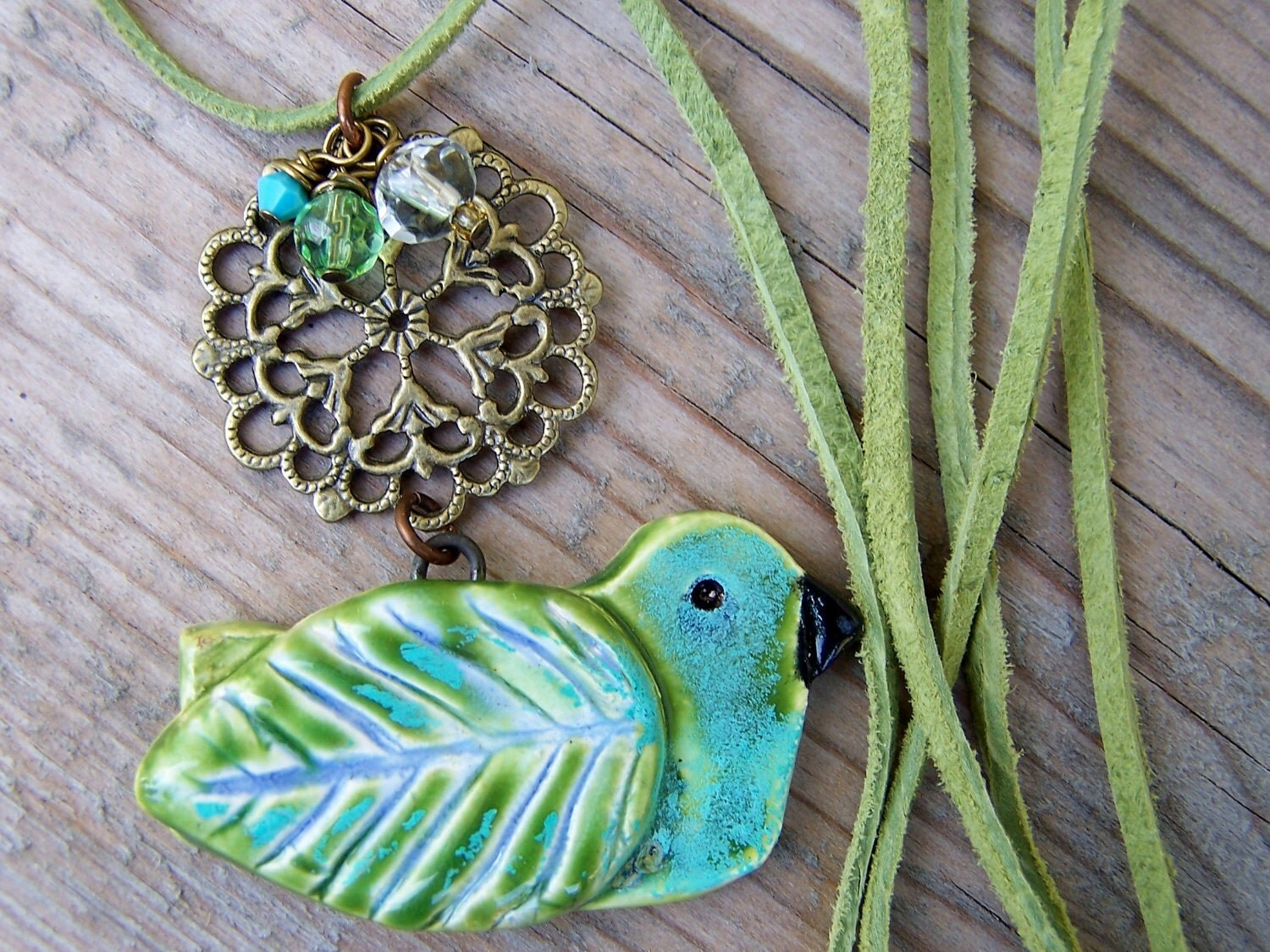 Ceramic Pottery Bird Brass Crystal Blue Green Necklace - gristmilldesigns
