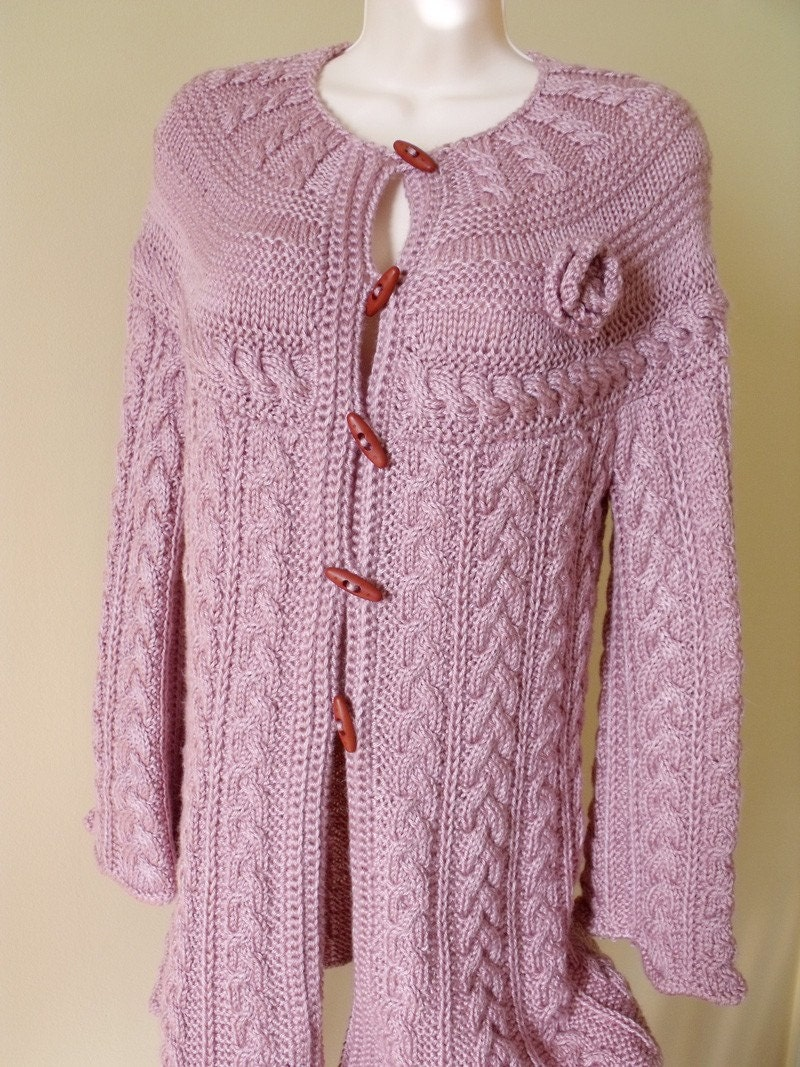 Knit long jacket cardigan coat warm pale dusty lilac pink
