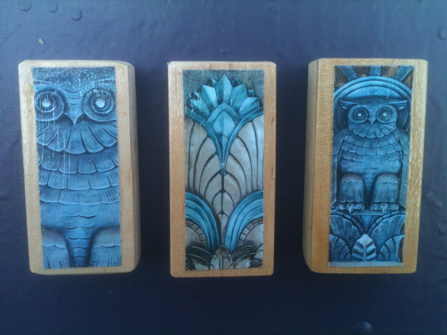Gothic Wood Block Super Strong Magnets set of 3