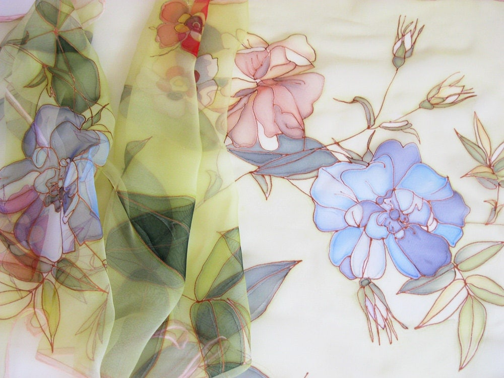 Long silk chiffon scarf Hand painted Spring fashion Lime green blue red flowers - made TO ORDER - DEsilk