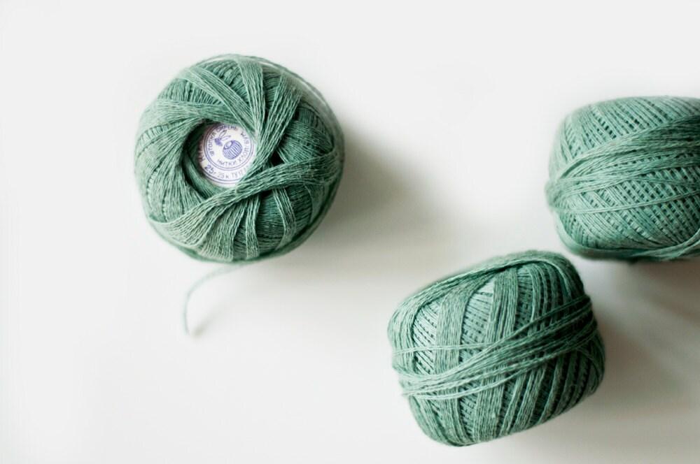 Vintage Thread Spools  - sage green - set of 3 - CuteOldThings