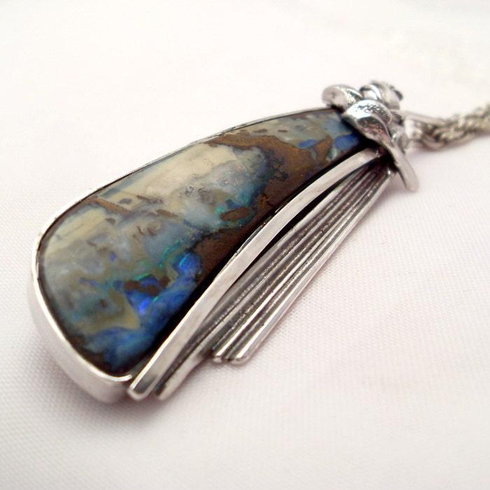 Australian Opal Pendant - Boulder Opal Stone Pendant in Sterling Silver