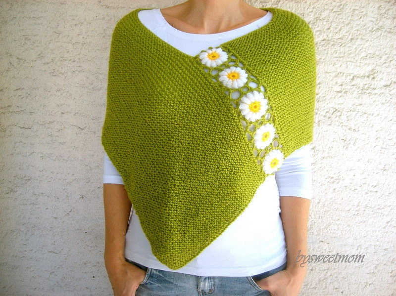 Knit Green Poncho Shawl  with Daisy Flowers Shrug Cape Capelet  Spring Fashion