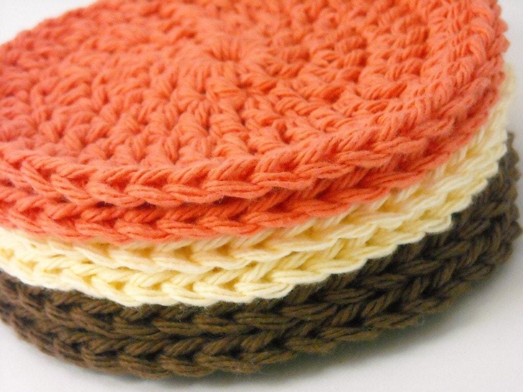 Coaster Set Crochet Absorbent Cotton Chocolate Brown, Bright Orange, Cream Set of 6 Handmade