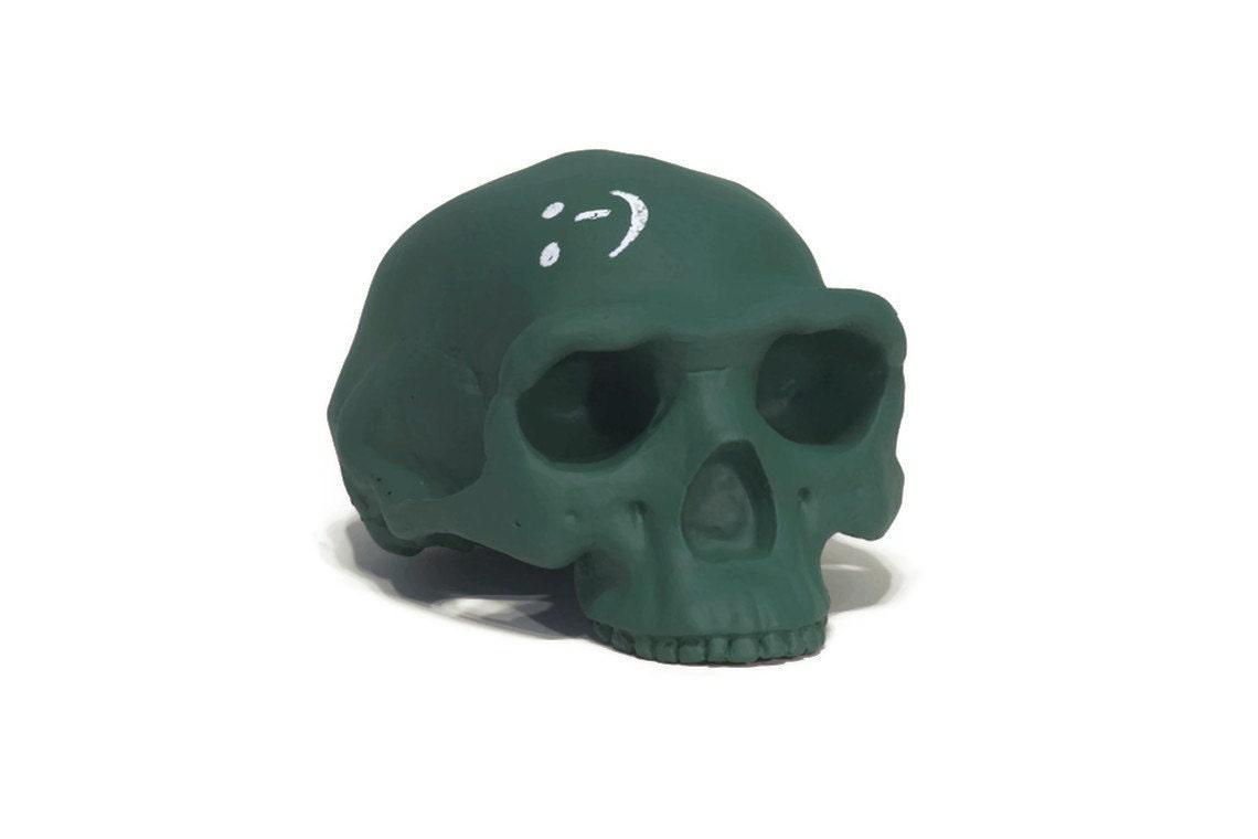 Homo erectus chalkboard skull in pine green - iamhome