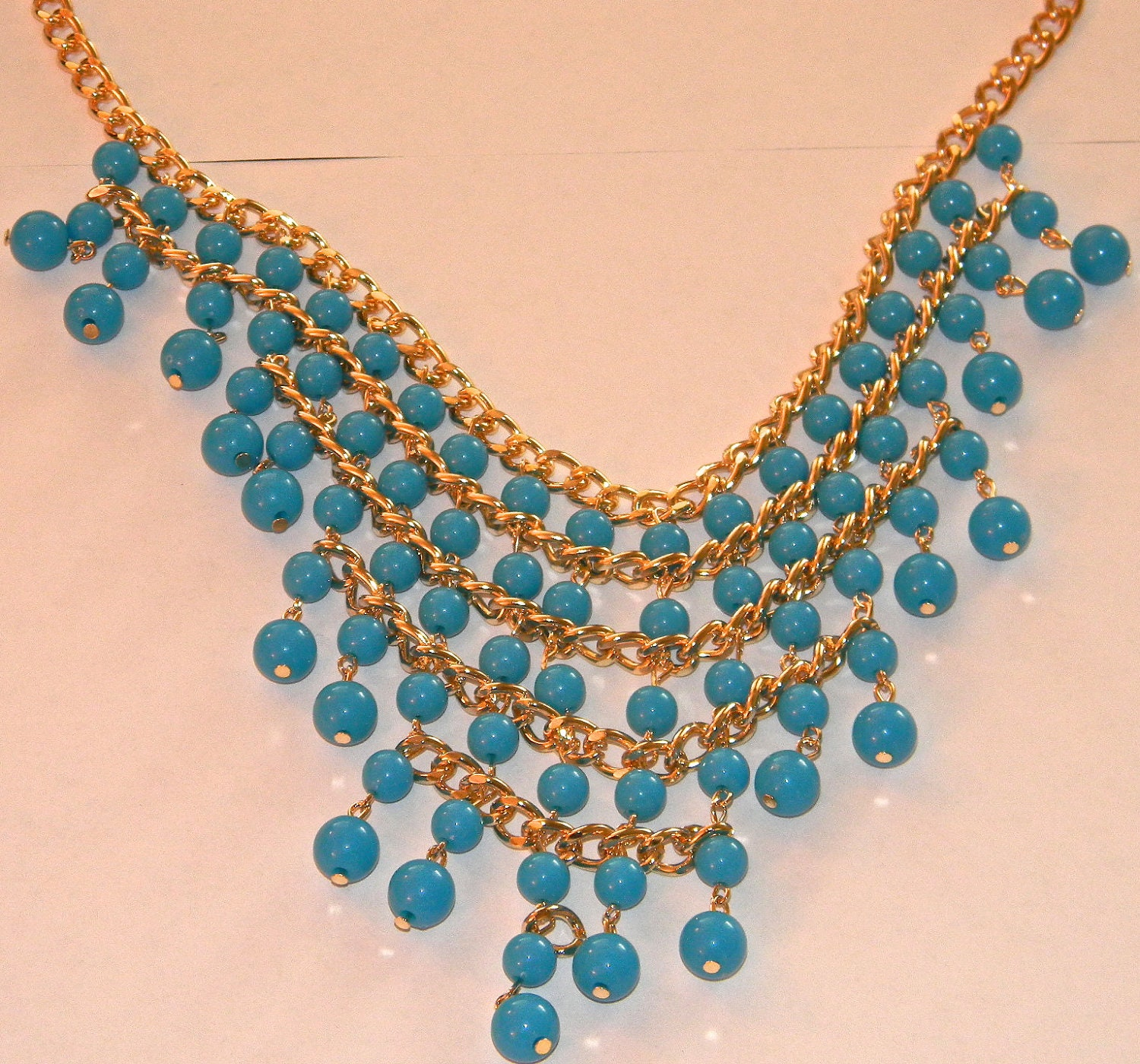 Beautiful Gold and Blue Bib Necklace