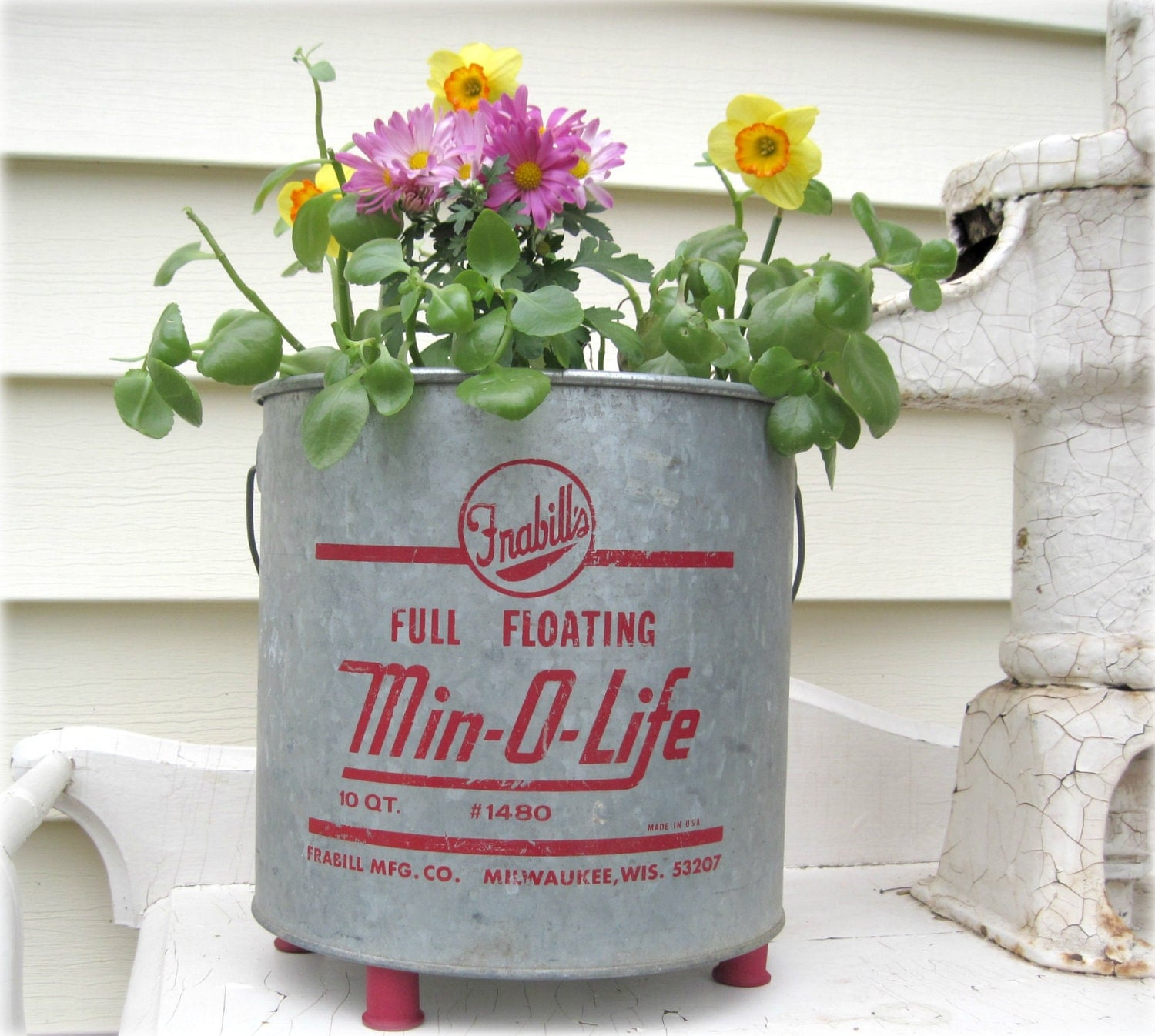 Vintage Garden Planter Minnow Bucket Min-O-Life with thread spool feet Unique Repurposed Fishing Bait Pail Galvanized Cottage Cabin Decor - ReclaimedGrace