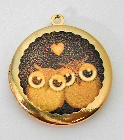 Locket OWL OWLS Necklace Pendant Vintage Style Brass Photo