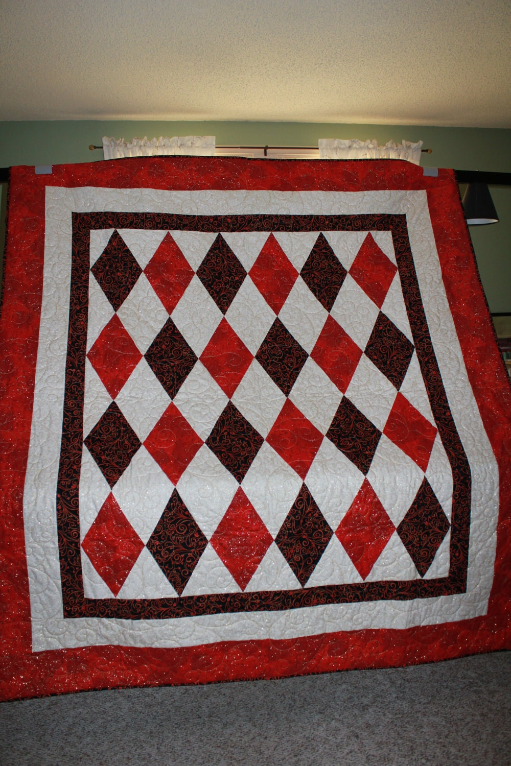 Queen of Hearts Custom Designed Diamonds in Red, White, and Black Quilt