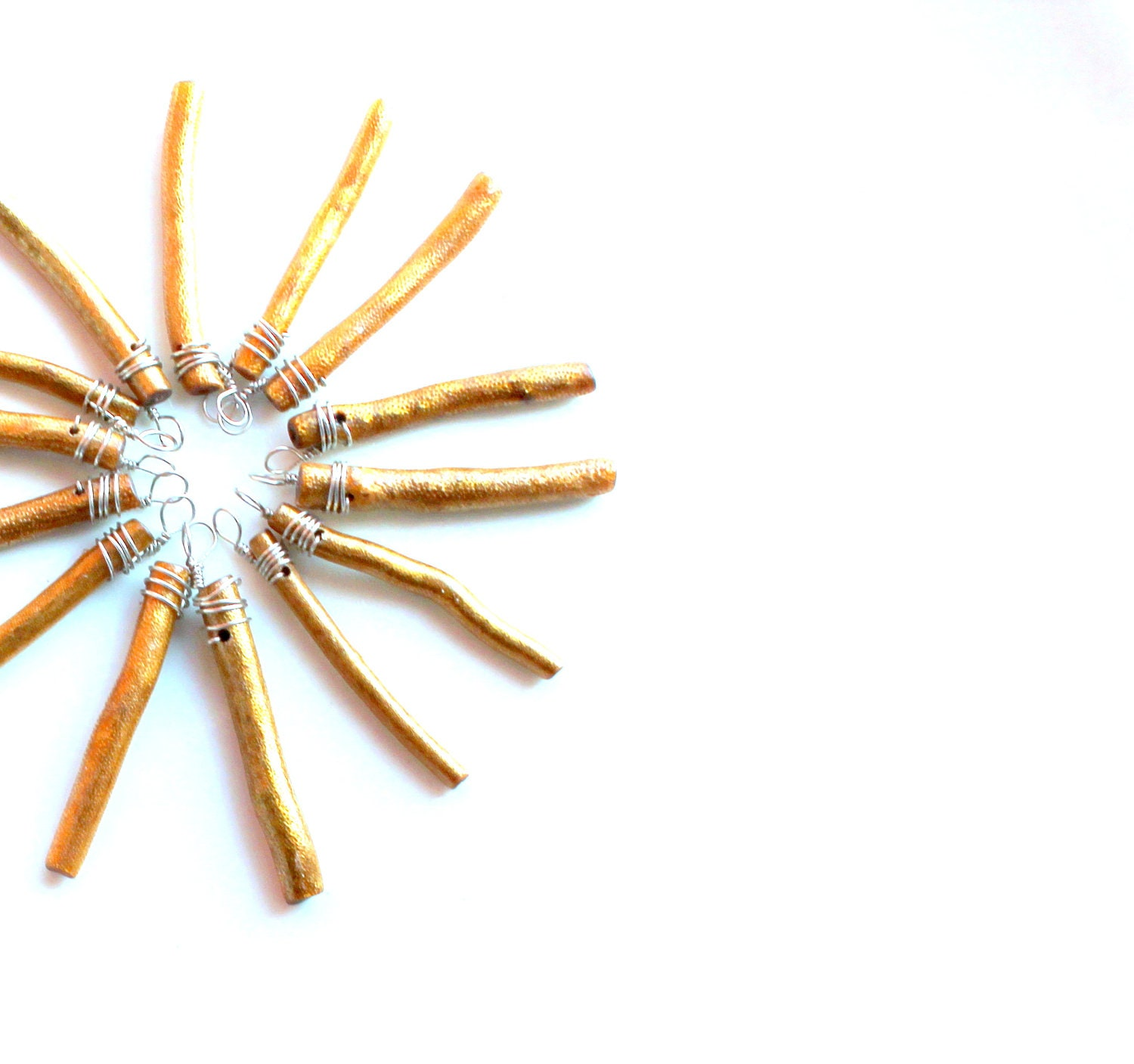 Gold Coral sticks 10 for 10. wire wrapped sea coral crafting supplies sticks pendants charms. gold ornament sticks - UniqueNecks