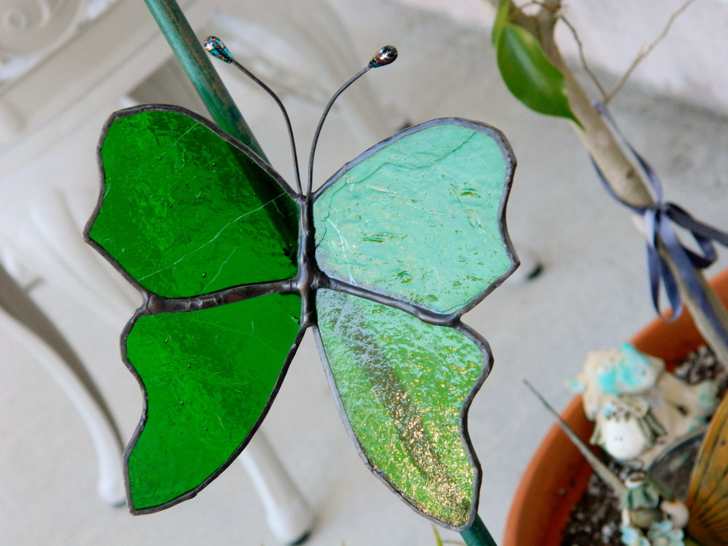 Stained Glass Suncatcher Emerald Butterfly