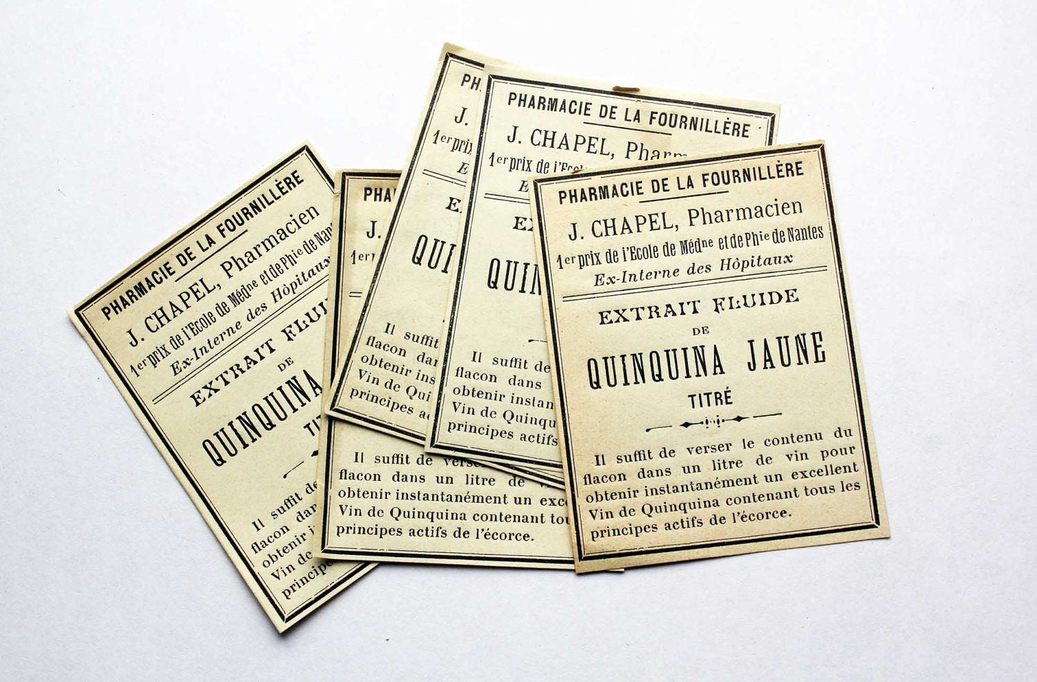 French apothecary labels - medicine 1920s unused labels - perfect for collage and assemblage - LucieTalesVintage