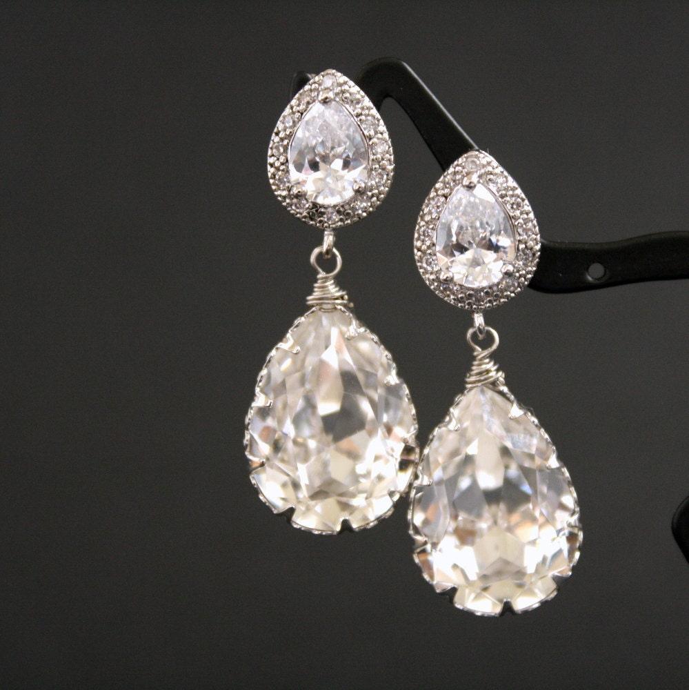 Bridal Earrings Silver Cubic Zirconia Posts with Clear Swarovski Teardrop Earrings