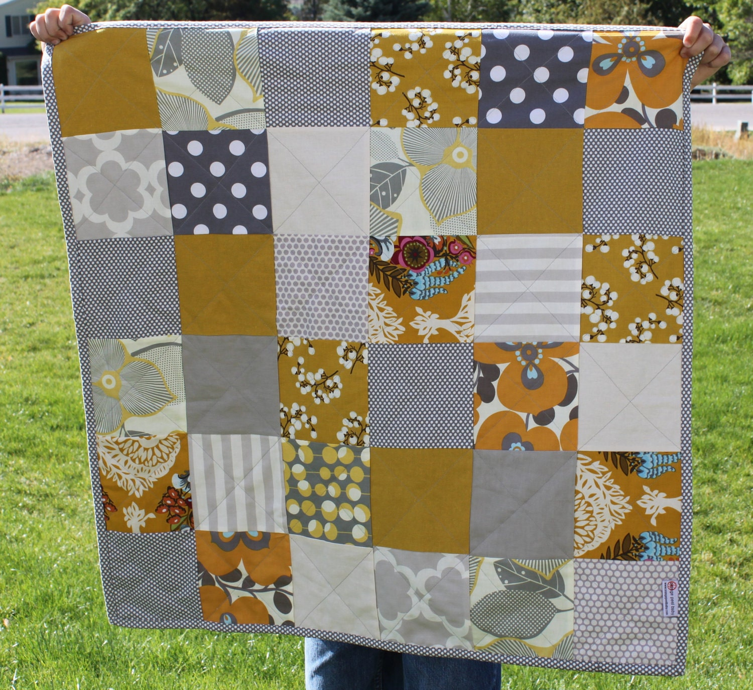 gray and mustard baby quilt
