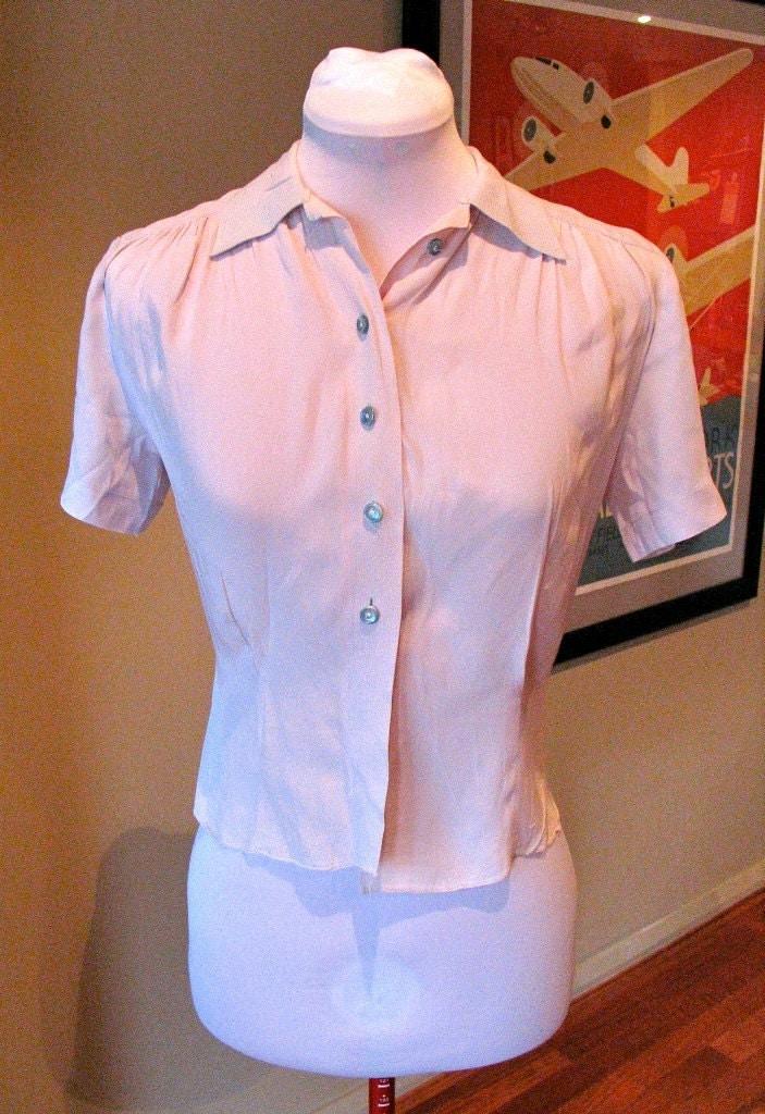 Vintage 1940s Rayon Blouse - Two-Tone Pink & Powder Blue