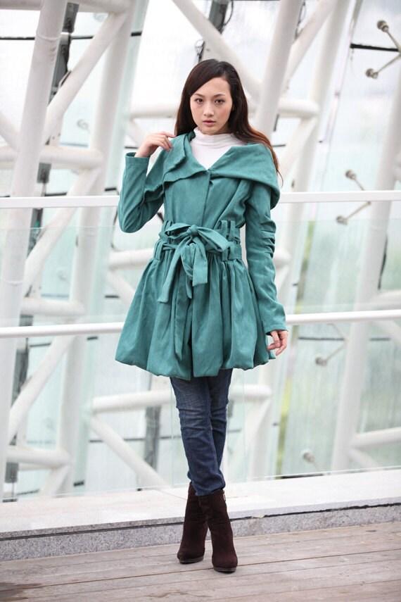 ژاکت کرکی روپوش دار سبز FAUX جیر چرم Hoodie زمستان کت آستین بلند سفارشی پیراهن بی استین یا با استین که مرد وزن میپوشیدهاند زنان - NC198