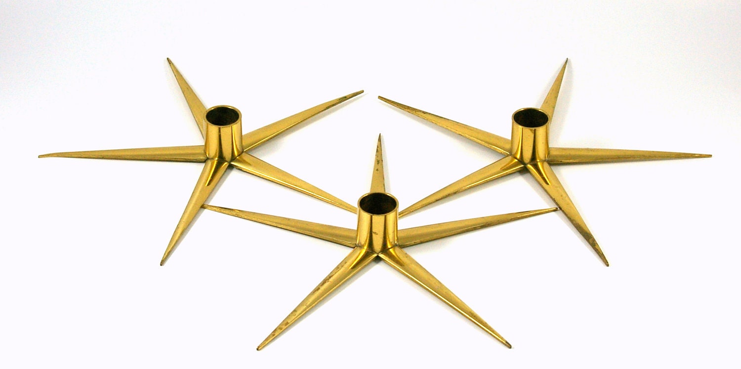 Three Brass Star Candle Holders -- Made in Sweden by IBE KONST - bitofbutter