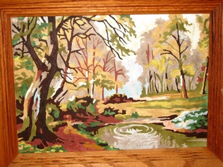 Paint by Number Land Scape, Woods, Wooden Trees, Maroon Bells, Pine Trees, Trickling Creek, Autumn Fall Day, Rocks 14H