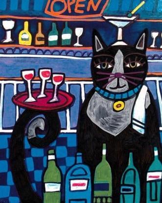 Tuxedo cat serving wine fine art print