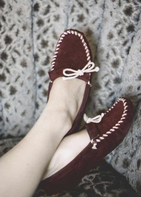Burgundy Plain Jane Moccasins