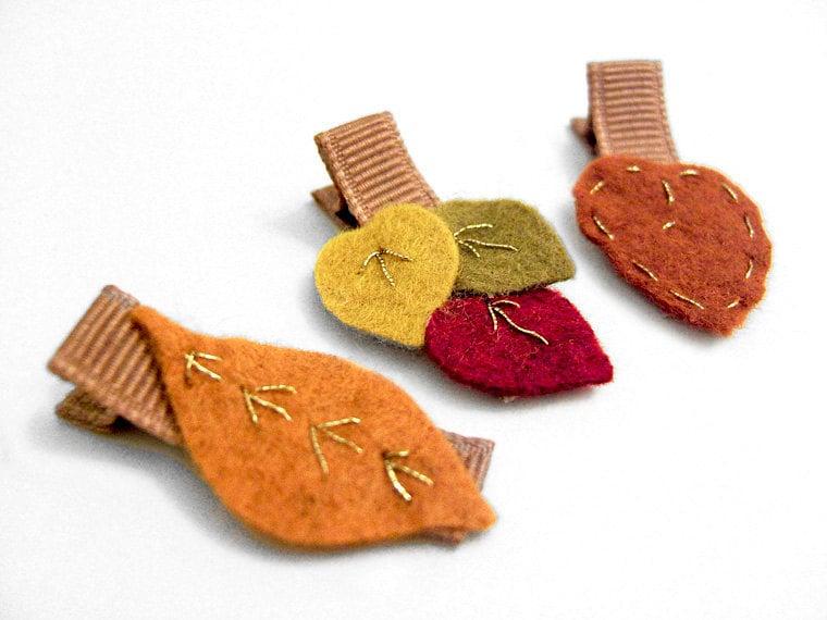 Autumn Leaves Hair Clips, Fall Leaves, Alligator Clips, Embroidered Felt Leaves, Pumpkin, Goldenrod, Nutmeg, Crimson - MySweetieBean