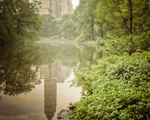 New York photograph Central Park rain nyc city by TheVeryImage