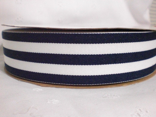 "1 YD Grosgrain Ribbon 1.5"" Navy and White Monarch Taffy Stripes"